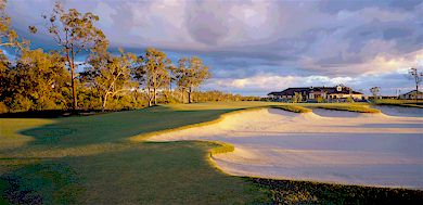 the long & tough 18th at Pelican Waters